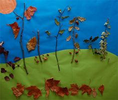 Autumn Picture: You could do this craft in the summer too. Go for a nature walk and collect lots of fun goodies. Come back and use crayons, glue and the children's treasures to create an awesome habitat picture. Have children create a specific habitat and explain who would live there, what they would eat, what they would use for cover, etc.