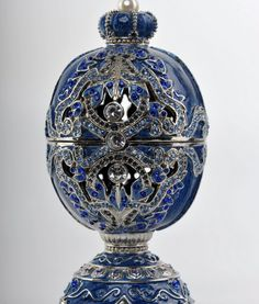 Blue Faberge Egg trinket box