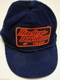ff381479e61 HARLEY DAVIDSON of Tuscon Arizona Baseball Cap Hat Navy Blue Corduroy  HEADMOST  Harley  harleydavidson