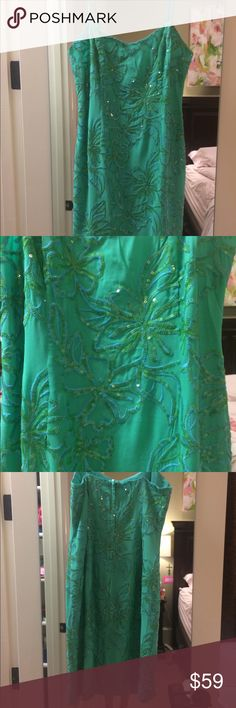 Lilly Pulitzer cocktail dress Lilly Pulitzer spaghetti strap green dress with sequins flowers. Size 4. Never worn! Lilly Pulitzer Dresses