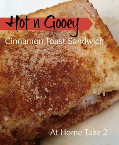Hot and Gooey Cinnamon Toast Sandwich filled with hot fudge or Nutella, marshmallows and peanut butter.