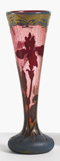 Daum, Iris vase, cameo glass fire-polished with intaglio etched ground heightened with gilding, 44.1 cm high, 15 cm diameter, circa 1900