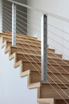 Project # 262 - Cable Railing Contest Winner - StairStupplies™ This project won the 2017 Summer Completed Project Contest. The customer took photos displaying her stainless steel cable railing system's beauty. Steel Railing, Stainless Steel Stair Railing, Cable Stair Railing, Steel Stairs, Metal Railings, Outdoor Stair Railing, Modern Stair Railing, Stair Railing Design, Staircase Railings