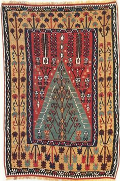 Tree of life inside a solid green mirhab.Turkish. Eastern Anatolia. Erzurum. Kilim.