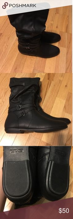 Sonoma Black Leather Slouchy Boots NWOT new never been worn still in the original box. They were too narrow for my feet. Smoke free home Sonoma Shoes