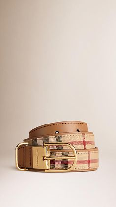 Burberry Camel Horseferry Check and Leather Belt -  Jacquard-woven Horseferry check belt with smooth leather trim.  Calf leather lining.  D-ring polished metal buckle.  Discover more accessories at Burberry.com
