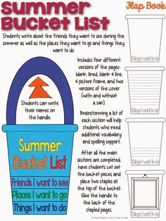 Summer Bucket List Flap Book End of the Year Writing Craftivity End Of Year Activities, Classroom Activities, Learning Activities, Interactive Activities, Classroom Setup, Art Classroom, Teaching Resources, End Of School Year, Summer School