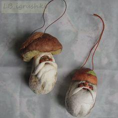 2 шт Ватные грибы, ёлочные игрушки из ваты Белый и Подосиновичек