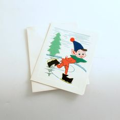 Vintage Christmas Card Pixie Ice Skating Note Card Unused by efinegifts on Etsy