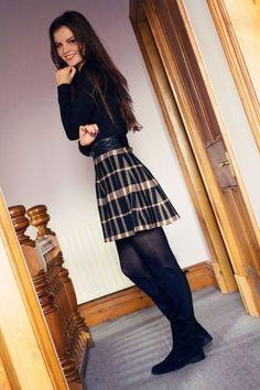 """Black plaid skater skirt and black tights "" Sexy Winter Outfits, Sexy Outfits, Stylish Outfits, Spring Outfits, Cute Outfits, Fashion Outfits, Uk Fashion, Winter Fashion, Pantyhose Outfits"