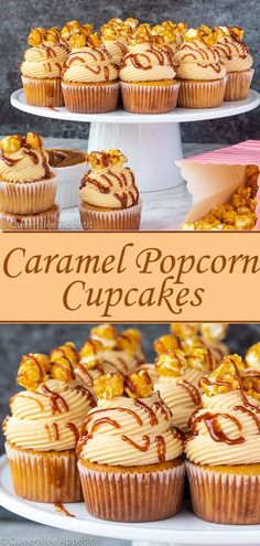 These Caramel Popcorn Cupcakes are a unique and fun treat that's loaded with caramel popcorn flavour! It starts with a fluffy caramel cupcake that has finely crushed caramel popcorn mixed in. Popcorn Cupcakes, Baking Cupcakes, Yummy Cupcakes, Cupcake Cakes, Flavored Cupcakes, Muffin Cupcake, Cupcake Frosting, Fruit Cupcakes, Party Cupcakes