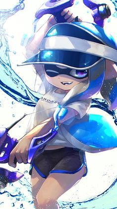 Inkling girl playing in the colors. Splatoon Games, Splatoon Squid, Nintendo Splatoon, Splatoon 2 Art, Splatoon Comics, Manga Art, Anime Art, Lolis Neko, Character Art
