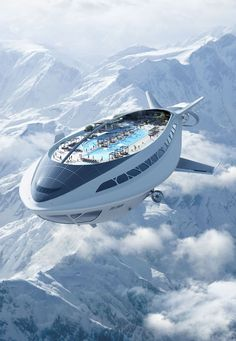 the sustainable future of flight – futuristic air cruiseship – imagined by Dassault Systèmes. – worlds longest aircraft combines parts from airships, planes and helicopters.