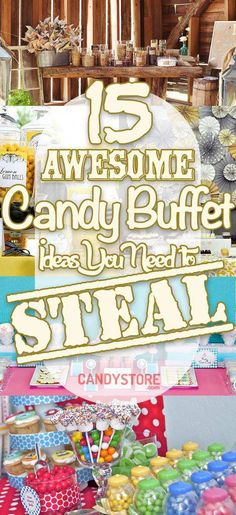 Whether you're planning your wedding, a bridal or baby shower, or birthday party, these 15 Awesome candy buffet ideas will help make your special day a hit. Candy Buffet Tables, Buffet Ideas, Dessert Tables, Dessert Buffet, Dessert Bars, Cake Pops, Candy Bar Wedding, Buffet Wedding, Wedding Shoes
