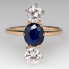 North to South Vintage Three Stone Sapphire Diamond Ring
