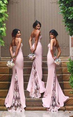 Spaghetti Straps Lace Bridesmaid Dress,New Arrival Pink Bridesmaid Dresses 2018,High Quality Mermaid Bridesmaid Dresses,See Through Back Bridesmaid Gowns,Custom Made Wedding Party Dress,Long Bridesmaid Dress
