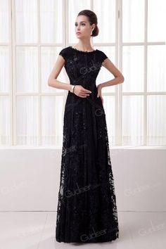 Floral Black Crew Neck Cap Sleeves V-back A-line Long Evening Dress