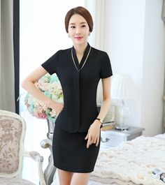 Office uniform designs for women pants and blouse view for Uniform design for spa
