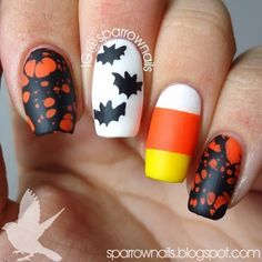 "Top 17 Halloween Nail Designs With ""Bat"" – Best New Simple Home Manicure Project - Bored Fast Food Halloween Acrylic Nails, Halloween Nail Designs, Acrylic Nail Art, Cute Nail Designs, Fabulous Nails, Gorgeous Nails, Pretty Nails, Fancy Nails, Love Nails"