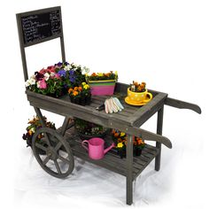 Wooden Retail Display Cart with Chalkboard - Large  $135.00...  looks fairly easy to haul in and out of the garage...  (another farm stand thought)