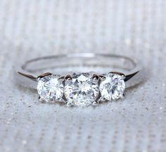 White sapphire and sterling silver 3 stone engagement, wedding ring