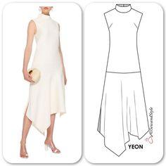 """인스 타 그램 :""""Trapeze Hem dress (silk / viscose) Abstract Grid Pr . Dress Sewing Patterns, Clothing Patterns, Costura Fashion, Mode Cool, Dress Outfits, Fashion Dresses, Retro Mode, Creation Couture, Fashion Sewing"""