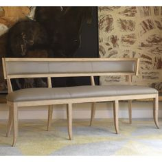Global Views Furniture Klismos Grey Leather Bench @LaylaGrayce