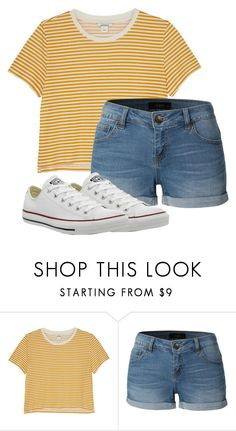 """"""":)"""" by melanierae14 ❤ liked on Polyvore featuring Monki, LE3NO and Converse"""