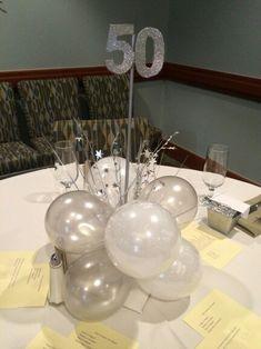 50th birthday silver and white balloon centerpiece