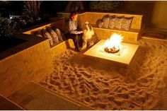 Back yard beach-themed fire pit.  I want this!