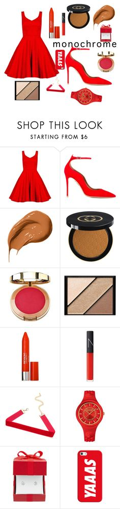 """red charm"" by bosschild ❤ liked on Polyvore featuring Dorothy Perkins, Aquazzura, Bobbi Brown Cosmetics, Gucci, Milani, Elizabeth Arden, Revlon, NARS Cosmetics, Versus and Casetify"