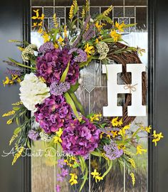 Monogram Purple and Yellow Spring Wreath on by ATwistDivine