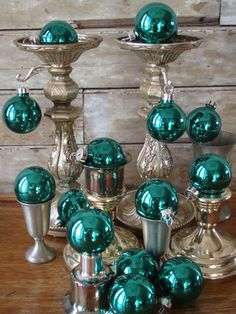 aqua blue vintage glass ornaments on silver candlesticks - great modern take on romantic shabby chic style Turquoise Christmas, Coastal Christmas, Noel Christmas, Winter Christmas, All Things Christmas, Vintage Christmas, Christmas Crafts, Christmas Ornaments, Christmas Photos