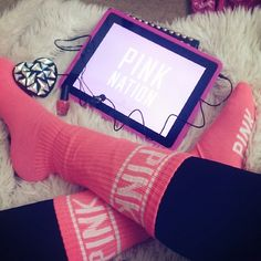 ♥♥victoria's secret PINK socks Go Pink, Pink Love, Pretty In Pink, Pink Socks, Pink Outfits, Cute Outfits, Everything Pink, Victoria Secret Pink, Victoria Secrets