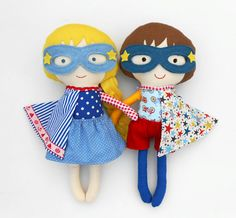 RAG DOLLS, twin dolls, superheroes, doll pair, dolls, fabric dolls, handmade doll, boy doll, genderneutral toys, toys, soft dolls, softtoy,  These