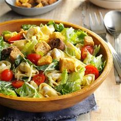 Tortellini Caesar Salad Recipe -This salad was served at a dear friend's baby shower by a health-conscious friend, who suggested the dressing be prepared with low-fat or fat-free ingredients. Either way, the creamy dressing has plenty of garlic flavor and coats the pasta, romaine and croutons nicely. —Tammy Steenbock, Sembach Air Base, Germany Tortellini Salad, Cheese Tortellini, Healthy Salads, Healthy Recipes, Vegetarian Recipes, Vegetarian Salad, Healthy Eating, Vegetarian Appetizers, Fruit Salads