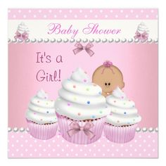 Baby Shower Cute Pink Cupcake Sprinkle Custom Invitations Cupcakes