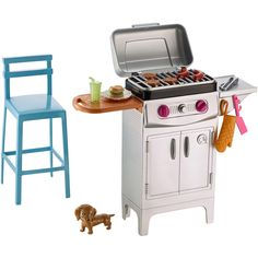 âSoak up the sun with the Barbie collection of outdoor furniture plus pet packs, like this barbeque set with grill, puppy and chair. The furniture packs help set the scene for a perfect day outside with summer settings and a pet friend to help enjoy the f