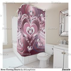 River Flowing Hearts Shower Curtain