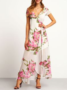 White Floral Print Wrap Maxi Dress -SheIn(Sheinside) I LOVE the colors and flow of the rayon material but it needs alot more structure to it both for modesty and peace of mind during a gust of wind on a beautiful Spring day.