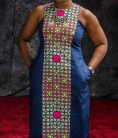 Ethnic African Ankara Denim Dress, Ankara Denim Dress, Solid and Patterned Dress, African Denim Dres African Dress Patterns, African Print Dress Designs, African Maxi Dresses, African Fashion Ankara, Latest African Fashion Dresses, African Print Fashion, African Attire, African Wear, African Fabric