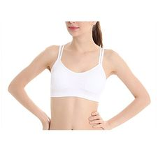 Awmak Women Mini Strappy CrossBack Quick Dry Sport Underwear Bra L White >>> Find out more about the great product at the image link.Note:It is affiliate link to Amazon.