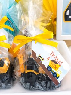 Boys birthday party favors create these construction themed party favors wi 2nd Birthday Party Themes, Party Favors For Kids Birthday, Party Themes For Boys, Birthday Decorations, Birthday Boys, Toddler Party Favors, Boy Party Favors, Birthday Ideas, Construction Party Favors