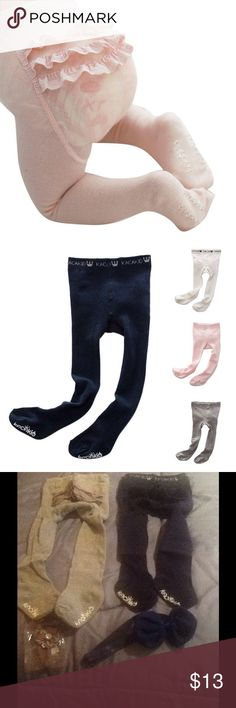 Baby Girls Lace Ruffle Pantyhose Baby Girls Lace Ruffle Pantyhose with anti-slip bottom.       Cotton Stocking Colors: Gray, Navy, Pink and White(Creme) 13.00 Each Please Specify size and color . Spandex, comfortable material, warm stretch panty-hose/leggings  SIZE - Small - Waist - 16.5-21.3, Length - 19.7-25.6, Recommended age - 0-2yrs OR Medium- Waist - 18.1-21.4, Length - 23.6-29.5,  Recommended age - 2-4 yrs. Measurements are to best of my knowledge, Complimentary Head Band (may vary…