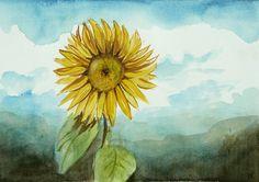 Sunflower Original Painting Watercolor Art Yelllow by ARTDORA. $30.00 USD, via Etsy.
