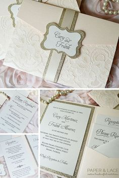 Blush Wedding Invitation with Ivory Lace and Gold Glitter - Trifold Pocket Invitation - Gold Glitter Belly Band w/ Blush Pink Ribbon