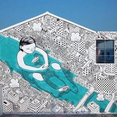 Mural by Millo in China Murals Street Art, Graffiti Art, Street Art News, 3d Street Art, Street Artists, In China, Art And Illustration, Stencil, Urbane Kunst