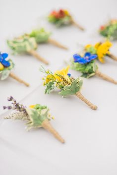 Bright boutonnieres: http://www.stylemepretty.com/2015/01/13/whimsical-heritage-square-museum-wedding/ | Photography: Honey Honey - http://www.hoooney.com/