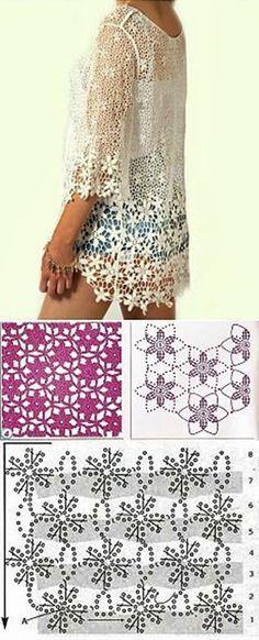Jak zrobić taka bluzkę? Wzór Crochet lace blouse pattern