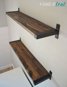 Rustic-DIY-Bookshelf-with-Ikea-Ekby-Brackets.11 Wooden Planks On Wall, Rustic Bookshelf, Bookshelves, Ikea Ekby, Plank Wall Bedroom, Plank Walls, Interior Barn Doors, Bathroom Shelves, Interior Design Living Room
